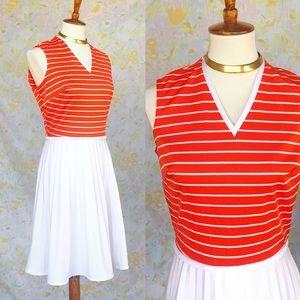 True Vintage🍊70s Tangerine Striped Midi Dress!